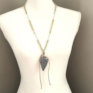 Jewelry - Beaded Long Necklace w Arrowhead Shaped Pendant